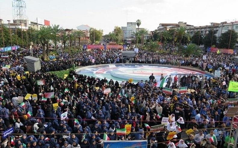 شکوه راهپیمایی ۱۳ آبان در سراسر گیلان